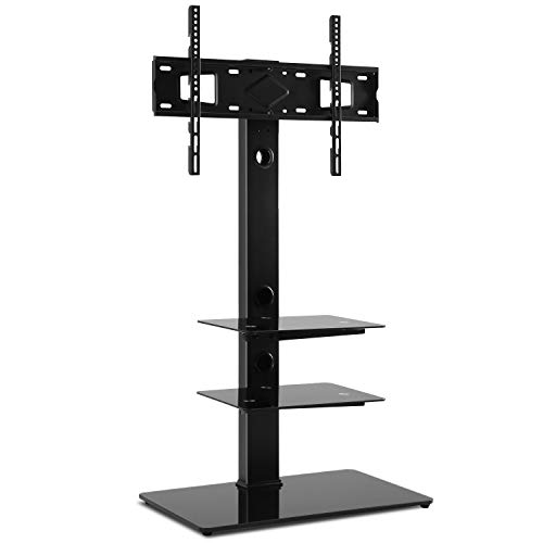 (Rfiver Black Floor TV Stand with Universal Swivel Bracket Mount and 3-Tier Tempered Glass Media Shelves for Most 32 37 42 47 50 55 60 65 inch TVs, Height Adjustable and Cable Management, Sturdy TF2002 )