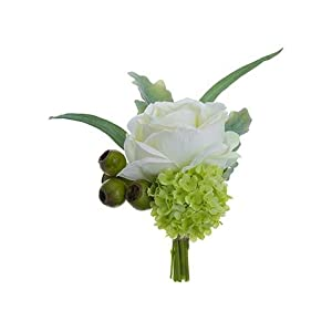 "Afloral Mini White Silk Rose and Snowball Bundle - 8"" Tall 97"