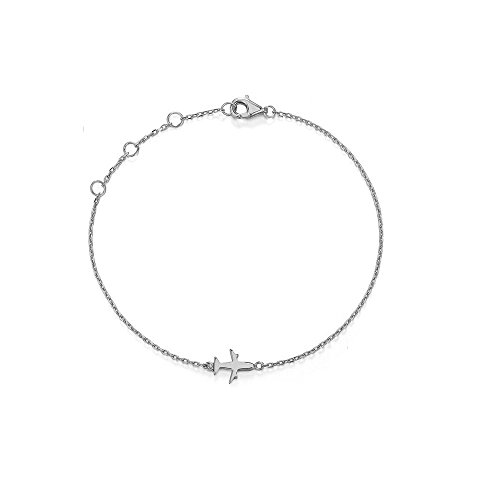 Bracelet Airplane - CARWENIYA Cute Charm Bracelets for Women Plated Sterling Silver Unique Gifts for Girlfriend