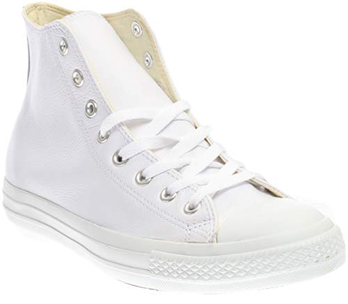 Converse Men's Chuck Taylor Leather High Top Sneaker White Monochrome (5.5)]()