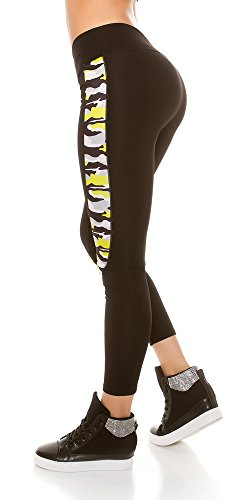 Trendy Workout Leggings mit Camouflage Muster, Yogahose, Farbe: Neon Yellow, Gr.: 36