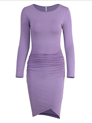 Missufe Women's Casual Long Sleeve Ruched Bodycon Sundress Irregular Sheath T Shirt Dress (Long Sleeve Lavender, X-Small) ()