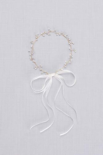 Crystal Sprig Headband with Organza Ribbons Style H8158, Gold
