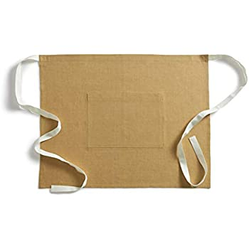 Solino Home Linen Bistro Apron - Extra Long Ties (40 Inches), Mustard Gold with Pockets - Unisex Apron for Men and Women - 100% Pure Linen