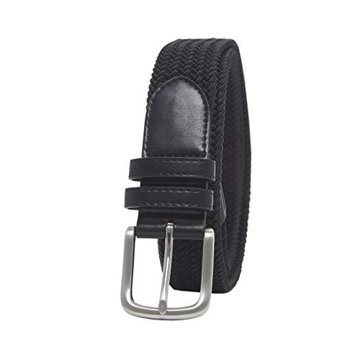 Amazon Essentials Men's Stretch Woven Braid Belt, Black, 36