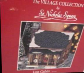 The Village Collection by St Nicholas Square: LOG CABIN 1999 - Illuminated Christmas Display Building