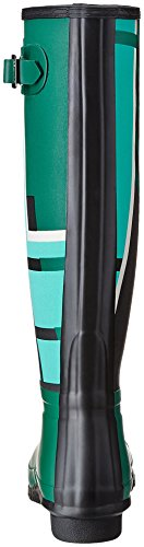 Hunter Wmn Org Tall Tartan, Stivale In Gomma Donna, Verde/Acquamarina, EU 39 (UK 6)