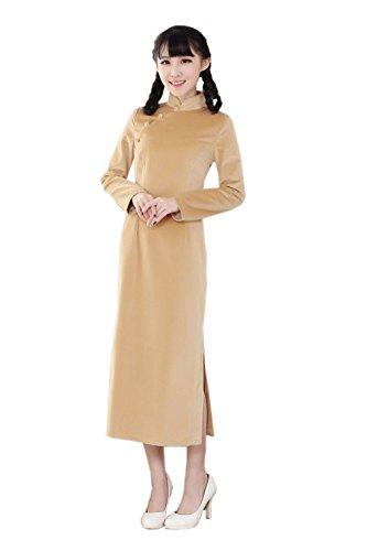 Langarm Schlank ACVIP Schlitz Aprikosenfarbe Cheongsam Damenkleider Lange Lang pTqww67A