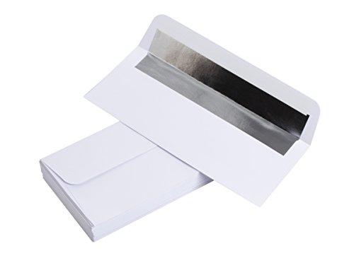 #10 Silver Foil Lined Business Envelopes - 50-Pack Bulk Square Flap White Envelopes - 4 1/8 x 9 1/2 inches, White ()