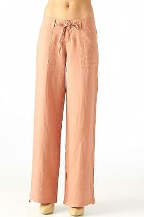 Women's 100% linen pants with drawstring waist (7013, Rust, L)