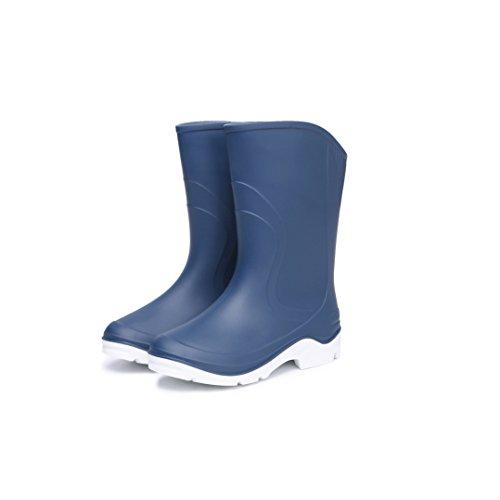 Hoter Nieuwste Eenvoudige Modieuze Jeugd Regenschoenen Skidproof / Waterdicht Regenachtige Dag / Tuin Werk / Outdoor Activiteiten Toe Te Voegen Pluche Voering Blauw