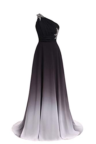 ANGELA One Shoulder Ombre Long Evening Prom Dresses Chiffon Wedding Party Gowns Black White 18 Plus