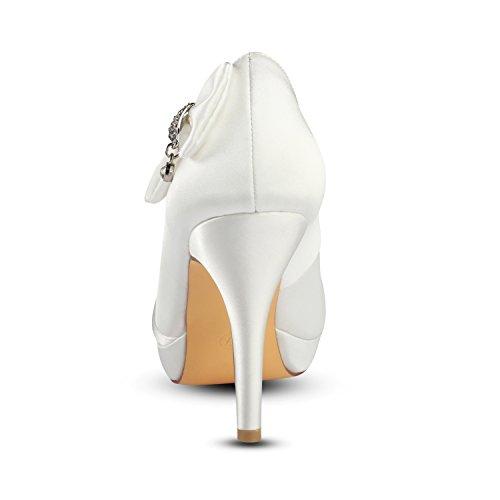 Satin 5 avec femmes Été mariage 1 Talons Plateforme papillon Printemps cm strass de hauts Mariée pour Best Noeud 4U® Chaussures KUKIE waxqO0Yz