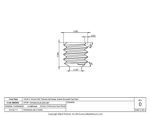Allied Titanium 0000858, (Pack of 10) 1/4-20 X 1/4 inch UNC Titanium Set Screw, Socket Drive with Cup Point, Grade 5 (Ti-6Al-4V) by Allied Titanium (Image #2)
