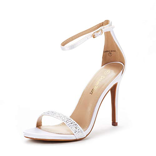 DREAM PAIRS Women's Karrie-Shine White High Stiletto Pump Heel Sandals Size 11 B(M) US