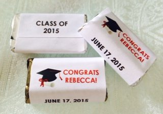 180 GRADUATION THEMED Candy wrappers/stickers/labels that fit your HERSHEY MINIATURE CHOCOLATES (Personalized Favors) for any Party or Event (Candy Graduation Bars Personalized)