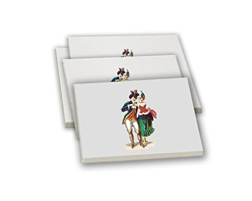 Couple At The Masquerade Vintage Look Sandstone Coasters Square Set of 4