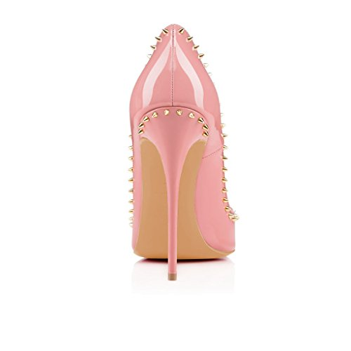 FSJ Women Pumps Pointed Toe High Heel Stilettos Rivets Studded Patent Leather Shoes Size 4-15 US Light Pink 0tPYW