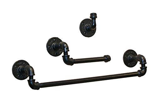 Industrial Farmhouse Black Bathroom Hardware Set- 3 Piece Kit Includes Robe Hook, 24 Inch Black Towel Rack And Industrial Toilet Paper Holder. 2 Styles Heavy Duty Pipe Towel Bar DIY. Perfect for Farmh