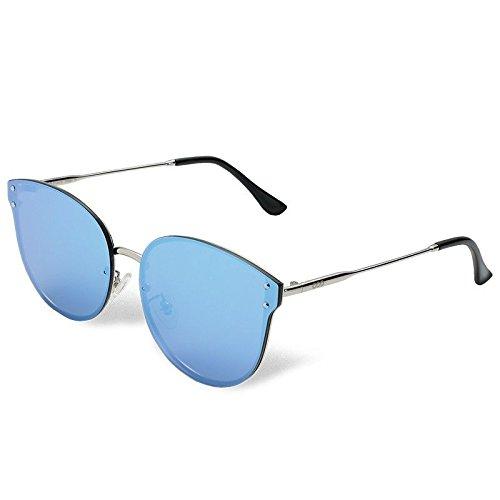 de Metal Gafas Mujer Blue Guía Plata Sol Clásico Sol de de Sunglasses sesgada Atrás Gafas Sol TL Ojo de Gafas en polarizadas Gato wCx7UATnIq