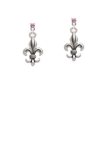 Large Antiqued Fleur di Lis Light Pink Crystal Post Earrings