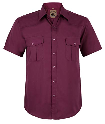 Coevals Club Men's Button Down Solid Short Sleeve Work Casual Shirt (Burgundy #7, S)