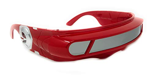 WebDeals - Futuristic Cyclops Wrap Around Monoblock Shield Sunglasses (Red, Mirror)