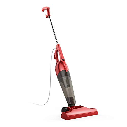 BESTEK Corded Electric Broom Lightweight Stick Vacuum Cleaner Handheld 2 in 1 with HEPA Filtration (Red)