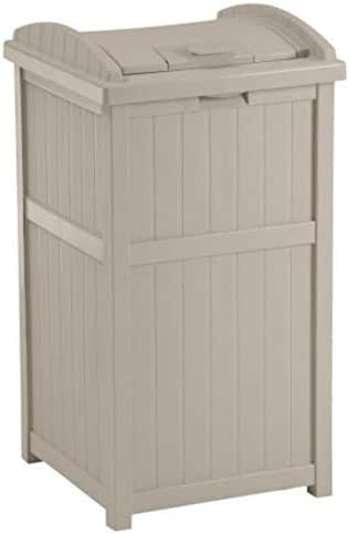 Suncast 33 Gallon Outdoor Trash Can for Patio - Resin Outdoor Trash Hideaway with Lid - Use in Backyard, Deck, or Patio - Taupe