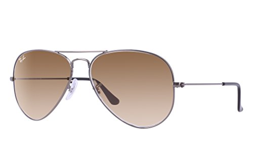 Ray-Ban RB3025 Aviator Sunglasses (58 mm, Gunmetal Frame/Light Brown Gradient Lens)