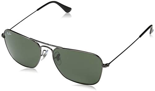 Ray-Ban RB3136 Caravan Square Sunglasses, Gunmetal/Green, 55 ()