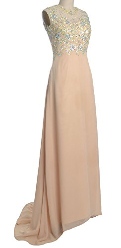Long Evening Women MACloth Champagner Prom Chiffon Gold Formal O Party Gown Neck Lace Dress n1RYfBqR