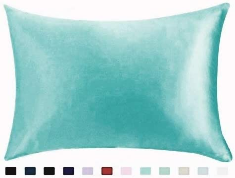 STANDARD BRIDAL SATIN SILKY PILLOWCASES---BLUE---WITH ZIPPER-A GREAT GIFT 2
