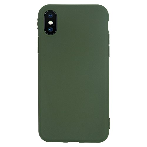 Apple Iphone Silicone Skin Case (iPhone X Case, Danbey, Charming Colorful, Matte Surface, Skin Feeling, 1.5mm Thick Flexible TPU Slim Cover, for Apple iPhone X, D1050 (Matte-Dark Green))