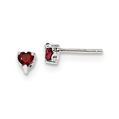 925 Sterling Silver 4mm Heart Red Garnet Post Stud Earrings Birthstone January Prong Fine Jewelry Gifts For Women For Her ()