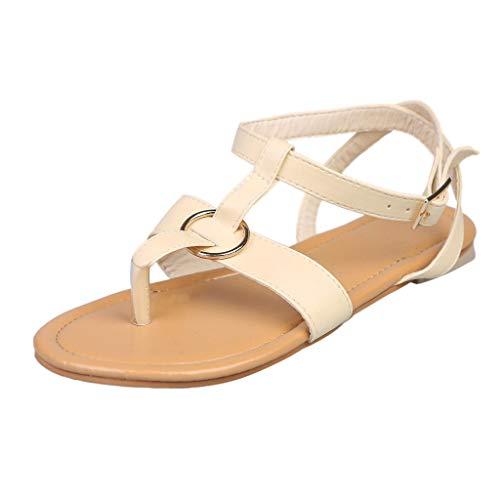 Nevera Women's Summer Braided Thong Flat Dress Sandals Buckle Flip Flops for Women Beige