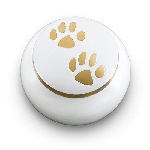 Cloud White with Brass Paw MediumOdyssey Series Cremation Urns for Pets  Handmade Pet Memorial (Large, Ebony)