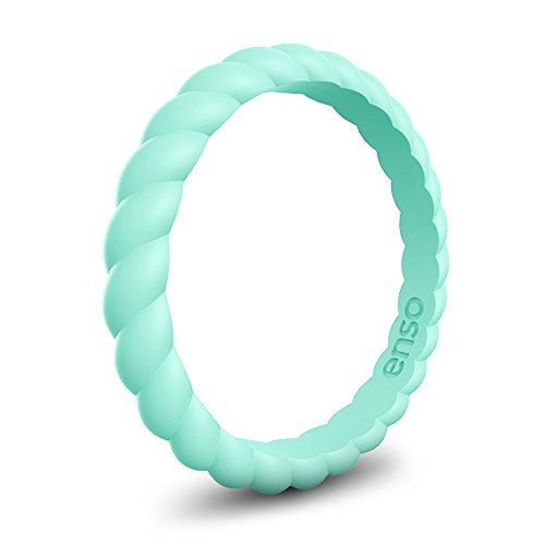 Enso Womens Braided Silicone Ring Turquoise Size: 5