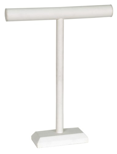 KC Store Fixtures 49134 Jewelry T-Bar Display for Necklace and Bracelets, White Leatherette, 18 Inches High Jewelry Display Fixtures
