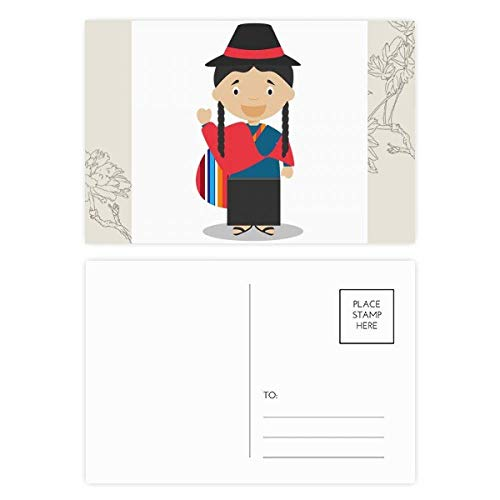 Red Blue Ecuador Cartoon Flower Postcard Set Thanks Card Mailing Side 20pcs