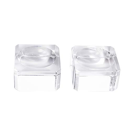 LONGWIN Square Dimple Blocks Glass Ball Display Stand for 70-80mm Sphere (Pack of 2)