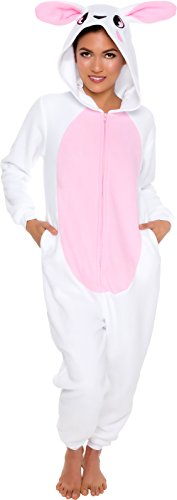 Silver Lilly Slim Fit Animal Pajamas - Adult One Piece Cosplay Bunny Costume (Pink, Large) -