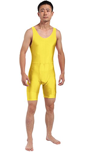 [JustinCostume Men's Spandex Step-in Leotard Biketard Costume XL Yellow] (Ballroom Costume For Men)