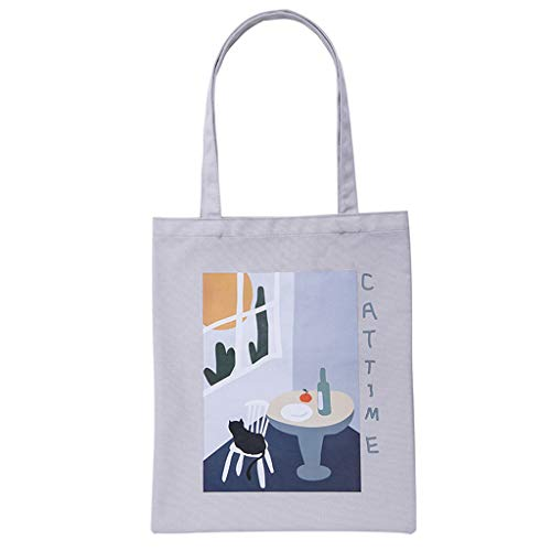 Foldable Canvas Shoulder Bag Printed Stylish Handy Shopping Casual Bags Foldaway Travel Bags Home Storage Organization ()