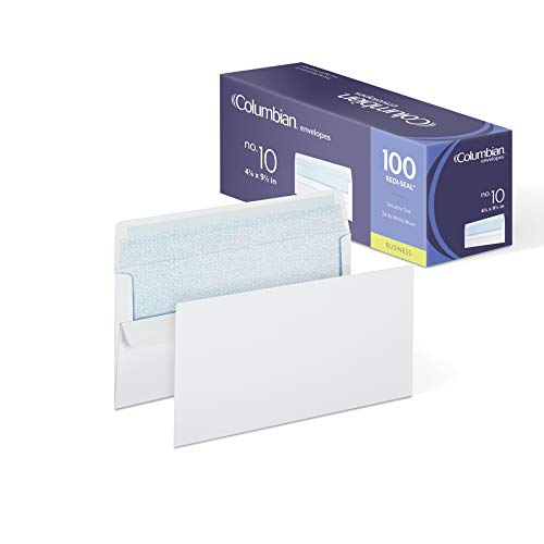 Columbian #10 Self-Seal Security Tinted Envelopes,  4-1/8 x 9-1/2 Inch, White, 100 Per Box (CO284)