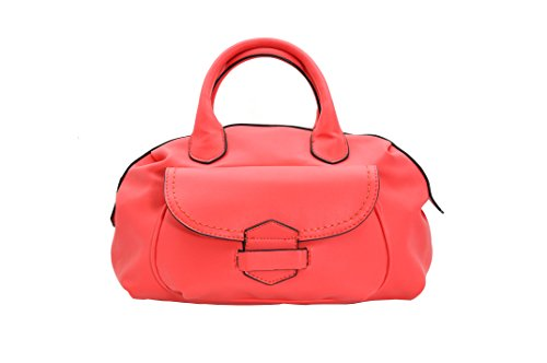 - MoDA-Women's Chic Satchel Bag with Handles and an Attachable Shoulder Strap (Coral)