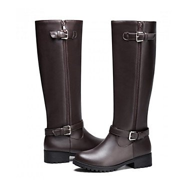 Boots Zipper Fashion Round CN34 Career Buckle Toe High For EU35 Thigh Novelty Heel Women'S RTRY Pu US5 Flat Boots Winter Shoes amp;Amp; Comfort Office Boots UK3 Fall 0FzxqUwC