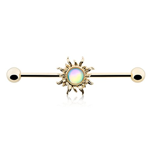Freedom Fashion Golden Revo Sun Industrial Barbell (Sold Piece)