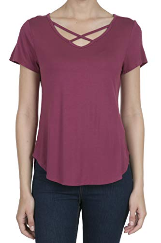 9003 Women's Casual Short Sleeve Solid Criss Cross V-Neck T-Shirt Tops Rose XL (Dance Womens V-neck T-shirt)