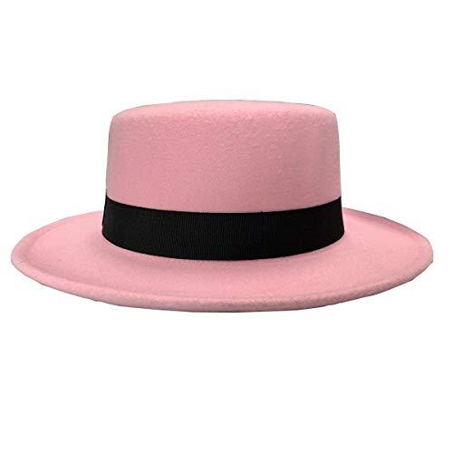 NE Norboe Women's Brim Fedora Wool Flat Top Hat Church Derby Bowknot Cap ()